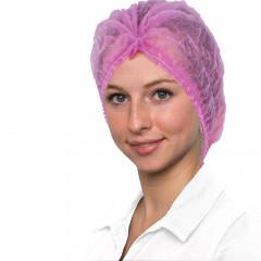 Kosmetikhauben pink, gerafft, 100 Stück