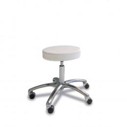 'Hocker mit rundem Sitz, weiß, Chrom-Fuß'
