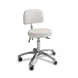 'Stuhl mit rundem Sitz, weiß, Chrom-Fuß'