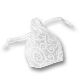 'Organza-Beutel Ornament weiß, 9 x 16 cm (10 Stück)'