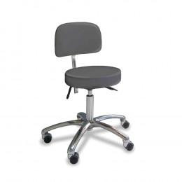 'Stuhl mit rundem Sitz, platingrau, Chrom-Fuß'