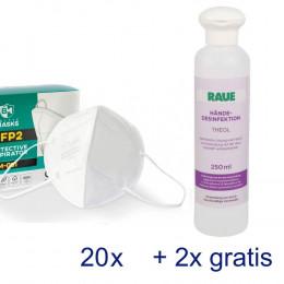 '20 Schutzmasken FFP2 & Händedesinfektion'