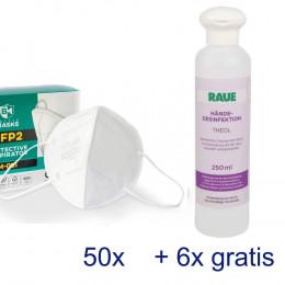 '50 Schutzmasken FFP2 & Händedesinfektion'